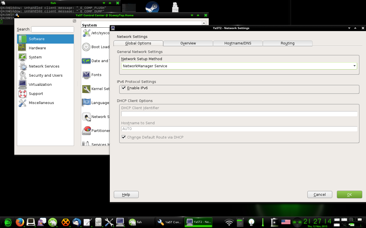Enabling NetworkManager using Yast openSUSE Leap 42.1