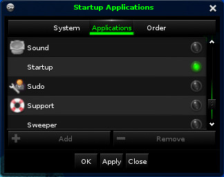 Setting the startup application