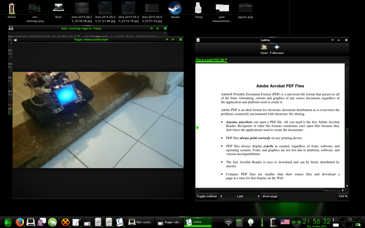 Lekha pdf viewer and Rage media player on openSUSE Leap 42.1